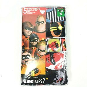 Disney Pixar Incredibles 2 Boys Briefs Size 4 Assorted 5 Pack